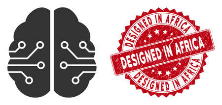 Vector electronic brain icon and grunge round stamp seal with Designed in Africa text. Flat electronic brain icon is isolated on a white background. 일러스트