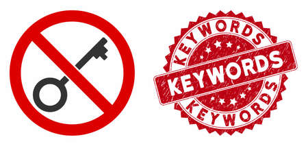 Vector no key icon and distressed round stamp seal with Keywords text. Flat no key icon is isolated on a white background. Keywords stamp seal uses red color and distress texture.
