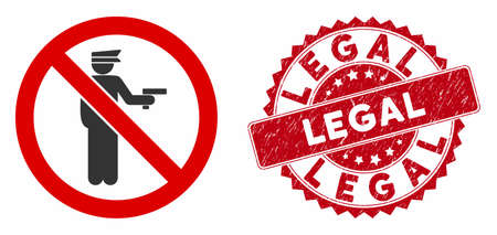 Vector no police gun icon and rubber round stamp seal with Legal phrase. Flat no police gun icon is isolated on a white background. Legal stamp seal uses red color and rubber texture.