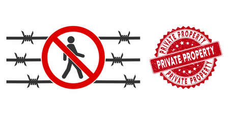 Vector no trespassing fence icon and grunge round stamp seal with Private Property phrase. Flat no trespassing fence icon is isolated on a white background. Çizim