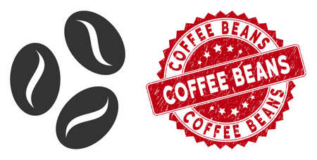 Vector coffee beans icon and distressed round stamp seal with Coffee Beans text. Flat coffee beans icon is isolated on a white background. Coffee Beans stamp seal uses red color and dirty design. Иллюстрация