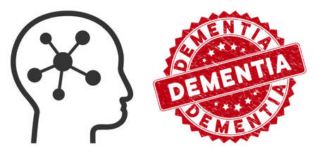 Vector head brain icon and rubber round stamp seal with Dementia phrase. Flat head brain icon is isolated on a white background. Dementia stamp uses red color and rubber surface.