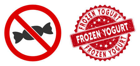 Vector no candy icon and rubber round stamp seal with Frozen Yogurt caption. Flat no candy icon is isolated on a white background. Frozen Yogurt seal uses red color and rubber texture.