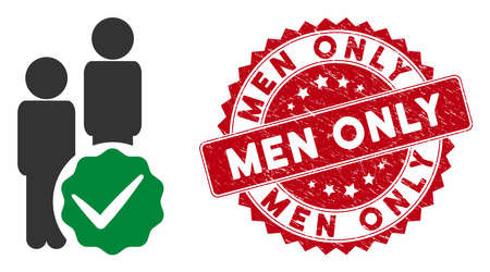 Vector men only icon and distressed round stamp seal with Men Only text. Flat men only icon is isolated on a white background. Men Only stamp seal uses red color and dirty design. Illustration