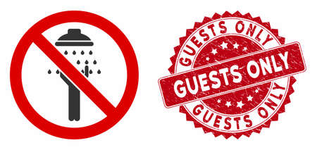Vector no man shower icon and grunge round stamp seal with Guests Only phrase. Flat no man shower icon is isolated on a white background. Guests Only stamp seal uses red color and distress texture.