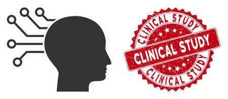 Vector neural interface icon and grunge round stamp seal with Clinical Study text. Flat neural interface icon is isolated on a white background.