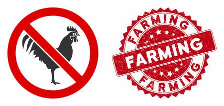 Vector no rooster icon and grunge round stamp seal with Farming phrase. Flat no rooster icon is isolated on a white background. Farming stamp seal uses red color and dirty surface. Stock Illustratie