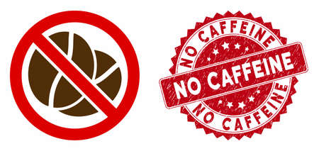 Vector no caffeine icon and rubber round stamp seal with No Caffeine phrase. Flat no caffeine icon is isolated on a white background. No Caffeine stamp seal uses red color and scratched design. Stock Illustratie