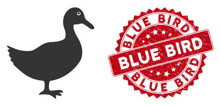 Vector duck icon and corroded round stamp seal with Blue Bird phrase. Flat duck icon is isolated on a white background. Blue Bird stamp seal uses red color and dirty texture.
