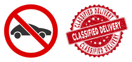 Vector no car icon and distressed round stamp seal with Classified Delivery caption. Flat no car icon is isolated on a white background.