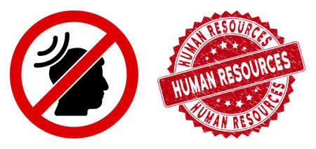 Vector no telepathy waves icon and rubber round stamp seal with Human Resources caption. Flat no telepathy waves icon is isolated on a white background.