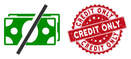 Vector no fees icon and rubber round stamp seal with Credit Only caption. Flat no fees icon is isolated on a white background. Credit Only stamp seal uses red color and distress design.