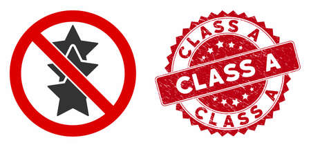 Vector no rating stars icon and distressed round stamp seal with Class A caption. Flat no rating stars icon is isolated on a white background. Class A stamp seal uses red color and dirty surface.