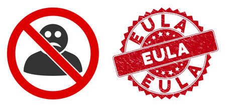 Vector no sad user icon and rubber round stamp seal with Eula caption. Flat no sad user icon is isolated on a white background. Eula stamp seal uses red color and dirty texture.
