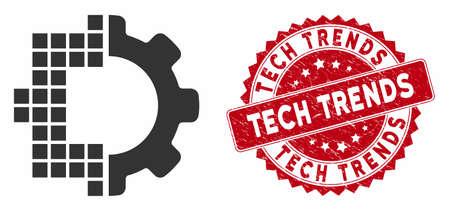 Icône de technologie numérique vectorielle et sceau de timbre rond en détresse avec légende Tech Trends. L'icône plate de la technologie numérique est isolée sur fond blanc.