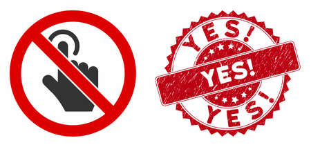Vector no click icon and corroded round stamp seal with Yes! phrase. Flat no click icon is isolated on a white background. Yes! stamp seal uses red color and grunge texture. Illustration