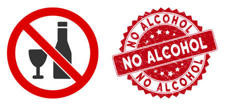Vector no alcohol icon and rubber round stamp seal with No Alcohol phrase. Flat no alcohol icon is isolated on a white background. No Alcohol stamp seal uses red color and rubber design. Stock Illustratie