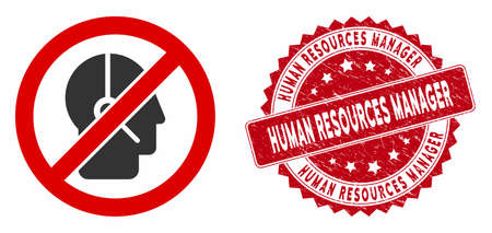 Vector no telemarketing operator icon and grunge round stamp seal with Human Resources Manager caption. Flat no telemarketing operator icon is isolated on a white background.