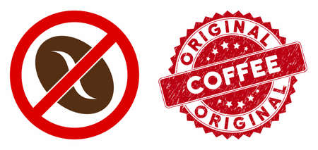 Vector no coffee bean icon and distressed round stamp seal with Original Coffee text. Flat no coffee bean icon is isolated on a white background. Vector Illustratie