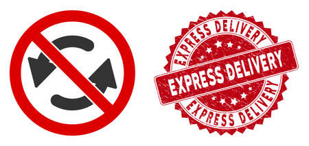 Vector no flip arrows icon and grunge round stamp seal with Express Delivery phrase. Flat no flip arrows icon is isolated on a white background.