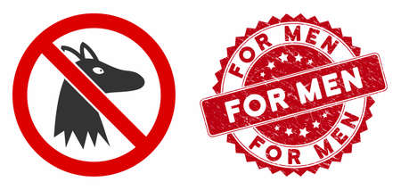 Vector no fox icon and grunge round stamp watermark with For Men phrase. Flat no fox icon is isolated on a white background. For Men stamp seal uses red color and grunge texture.