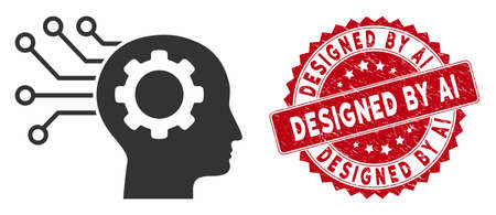 Vector artificial mind icon and rubber round stamp seal with Designed by Ai phrase. Flat artificial mind icon is isolated on a white background.