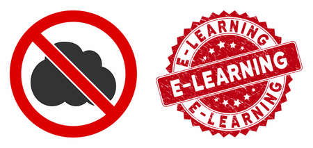 Vector no clouds icon and corroded round stamp seal with E-Learning text. Flat no clouds icon is isolated on a white background. E-Learning stamp seal uses red color and distress surface. Stock Illustratie