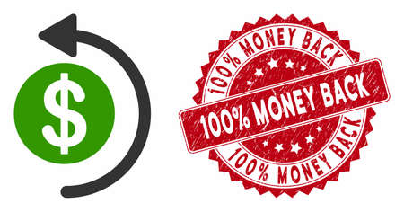 Vector cashback icon and corroded round stamp seal with 100% Money Back caption. Flat cashback icon is isolated on a white background. 100% Money Back stamp seal uses red color and scratched texture.
