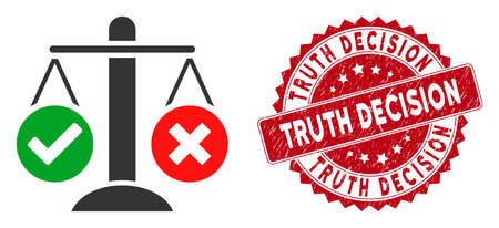 Vector truth decision icon and grunge round stamp seal with Truth Decision phrase. Flat truth decision icon is isolated on a white background. Truth Decision seal uses red color and grunge texture.