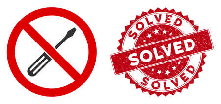 Vector no screwdriver tuning icon and rubber round stamp seal with Solved phrase. Flat no screwdriver tuning icon is isolated on a white background. Solved stamp uses red color and grunged design. Stock Illustratie
