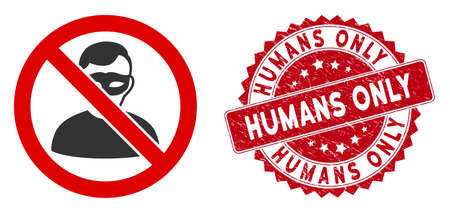 Vector no anonymous icon and distressed round stamp seal with Humans Only phrase. Flat no anonymous icon is isolated on a white background. Humans Only stamp seal uses red color and distress design.