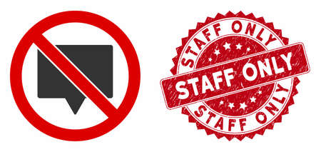 Vector no banner icon and grunge round stamp seal with Staff Only text. Flat no banner icon is isolated on a white background. Staff Only stamp seal uses red color and grunge surface.