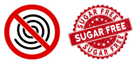 Vector no spiral icon and rubber round stamp seal with Sugar Free text. Flat no spiral icon is isolated on a white background. Sugar Free stamp uses red color and rubber design.