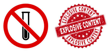 Vector no testtube icon and grunge round stamp seal with Explosive Content phrase. Flat no testtube icon is isolated on a white background.