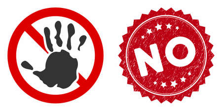 Vector no icon and rubber round stamp seal with No caption. Flat no icon is isolated on a white background. No stamp seal uses red color and dirty surface.