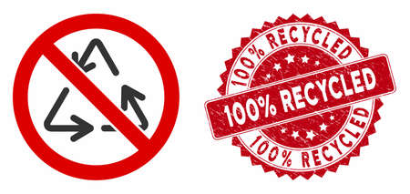 Vector no recycling icon and rubber round stamp seal with 100% Recycled text. Flat no recycling icon is isolated on a white background. 100% Recycled stamp seal uses red color and rubber design.