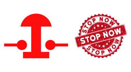 Vector emergency stop button icon and grunge round stamp watermark with Stop Now text. Flat emergency stop button icon is isolated on a white background.