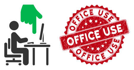 Vector office use icon and distressed round stamp seal with Office Use caption. Flat office use icon is isolated on a white background. Office Use stamp seal uses red color and scratched surface.