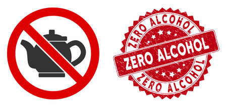 Vector no teapot icon and distressed round stamp seal with Zero Alcohol text. Flat no teapot icon is isolated on a white background. Zero Alcohol stamp seal uses red color and grunge design. Illustration