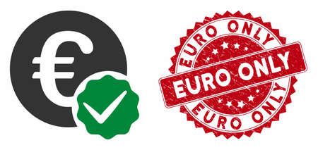 Vector euro only icon and rubber round stamp seal with Euro Only caption. Flat euro only icon is isolated on a white background. Euro Only stamp seal uses red color and rubber surface.