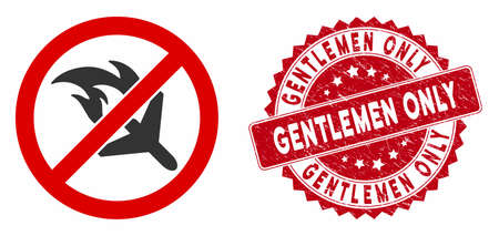 Vector no aviation accidents icon and distressed round stamp seal with Gentlemen Only phrase. Flat no aviation accidents icon is isolated on a white background. Stock Illustratie