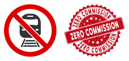 Vector no train icon and grunge round stamp seal with Zero Commission phrase. Flat no train icon is isolated on a white background. Zero Commission stamp seal uses red color and rubber design.