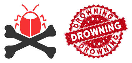 Vector pesticide icon and rubber round stamp seal with Drowning caption. Flat pesticide icon is isolated on a white background. Drowning stamp seal uses red color and rubber texture. Illusztráció