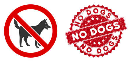 Vector no dogs icon and rubber round stamp seal with No Dogs phrase. Flat no dogs icon is isolated on a white background. No Dogs stamp seal uses red color and distress surface.