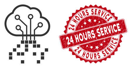 Vector digital cloud icon and grunge round stamp seal with 24 Hours Service text. Flat digital cloud icon is isolated on a white background.