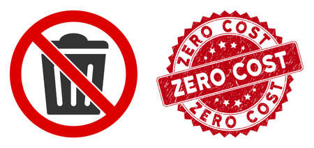 Vector no trash can icon and grunge round stamp seal with Zero Cost text. Flat no trash can icon is isolated on a white background. Zero Cost seal uses red color and dirty design. Ilustração