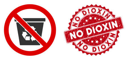 Vector no recycle can icon and rubber round stamp watermark with No Dioxin text. Flat no recycle can icon is isolated on a white background. No Dioxin stamp uses red color and rubber texture.