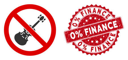 Vector no violin icon and distressed round stamp seal with 0% Finance caption. Flat no violin icon is isolated on a white background. 0% Finance stamp seal uses red color and grunge surface.