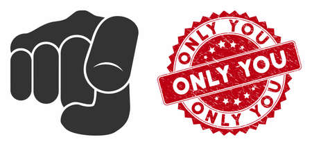 Vector only you icon and rubber round stamp seal with Only You phrase. Flat only you icon is isolated on a white background. Only You stamp seal uses red color and distress surface.