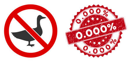 Vector no goose icon and distressed round stamp seal with 0.000% phrase. Flat no goose icon is isolated on a white background. 0.000% stamp seal uses red color and grunged texture. Stock Illustratie